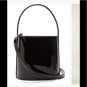 STAUD Small Bissett Bag; Black Patent Leather--NWT